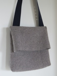 a messenger bag from a felted wool knit dress, lined with a Brooks Bros. 100% cotton dress Polo