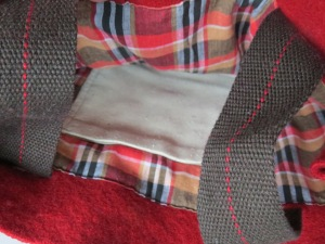 a woven plaid lining with a raw Tussah silk pocket,