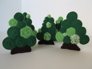a new set of standing wool trees with bright greens...