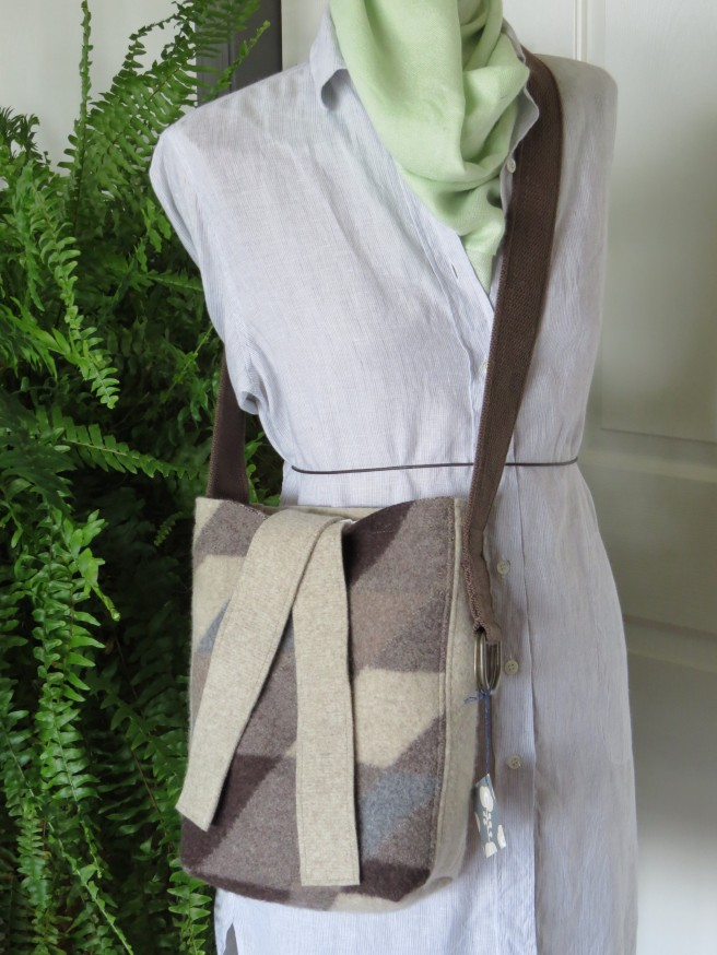 And here's the lady, my newly finished body double DIY dress form, modeling this wonderfully soft tote of a purse.