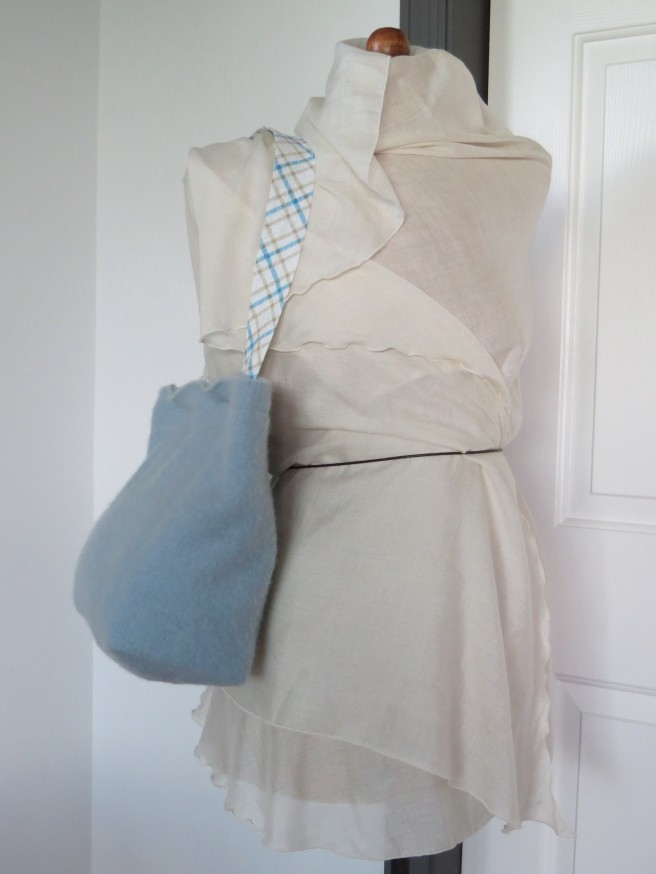 The shoulder strap just long enough to put over your shoulder.