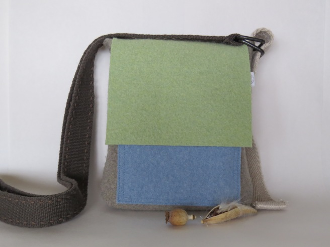 merino wool pastels for this flap front, exterior pocket bag